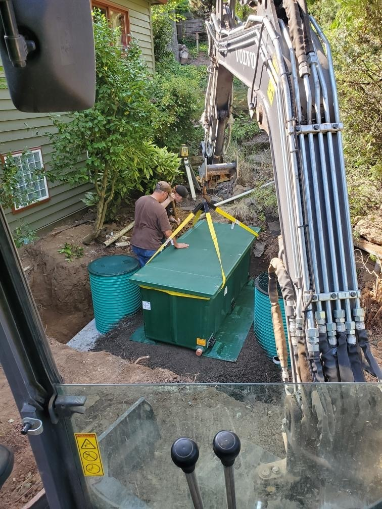 Our septic tank installation team at work